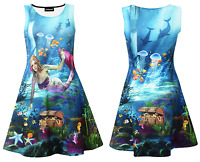 Mermaid Dolphins And Creatures Of The Sea Underwater Printed Skater Dress