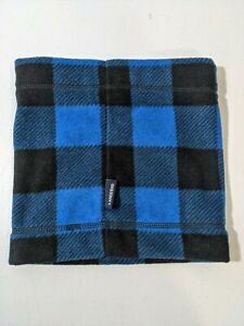 LANDS END Boys Buffalo Plaid Blue and Black Soft Gaiter One Size Fits All New!