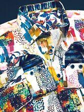 Robert Graham Medium Shirt Mens Multi Color Geometric Long Sleeve New Luxury