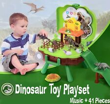 Dinosaur World Play Kit Set Island Boy Kids Toys T-Rex Eggs Scene Dinosaurio