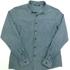 ARC'TERYX Shirt Long Sleeve Button Up Solid Gray Chambray Pocket Men's L *