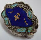 BEAUTIFUL DECORATIVE ANTIQUE 1920 SOLID SILVER & GUILLOCHE ENAMEL SNUFF PILL BOX
