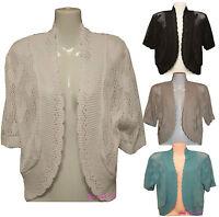 Ladies Women's Crochet Heart Knitted Shrugs Bolero Cardigans Jumpers Plus Sizes