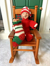 New ListingByers' Choice The Carolers Toddler Holding Knit Stocking in Wooden Rocking Chair