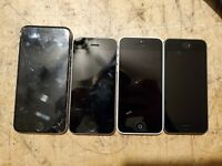 Lot of 4 IC locked iphones 5s 5c and 6s broken not working for parts
