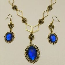 VICTORIAN STYLE - DIAMOND ROSE - DEEP BLUE CRYSTAL GOLD PLATED NECKLACE SET DR