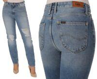 Lee Damen Jeanshose Mom Straight Vintage-Destroyed Blau W27 - W31