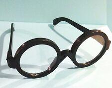 Lot of 3 Boy WIZARD Style Black Round Rim Geek Nerd Costume Glasses Clear Lenses
