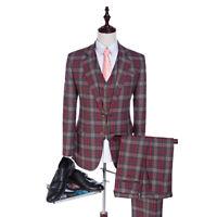 Tweed Suits Custom Made Men Suit Glen Plaid Groom Tuxedos Tailor Made Groomsman