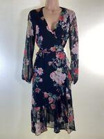 BNWT LIPSY black floral print chiffon wrap midi dress size 10 euro 38