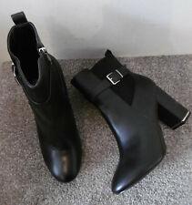 No Doubt Black Buckle Detail Block Heel Ankle Boots , Size UK 8 EU 41