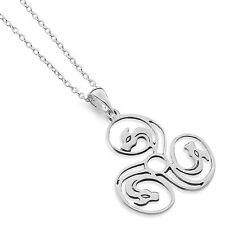 Celtic Lands Sterling Silver 925 Zoomorpic Dragon Triskelion Pendant Necklace