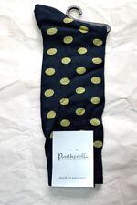 $45 NWT PANTHERELLA 8.5-11 M Black w/Lime spots men's Italian cotton dress socks