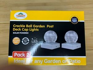 2 PK Solar Post Cap Lights Deck Outdoor Railing Lights Decorative Crackle Ball