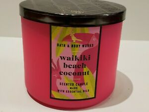 NEW Bath & Body Works WAIKIKI BEACH COCONUT 3-Wick Candle 14.5oz