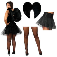 WOMENS HALLOWEEN COSTUME DARK ANGEL FANCY DRESS SET BLACK TUTU WINGS TIGHTS