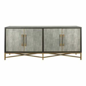 "76"" W Barry Sideboard Solid Oak Wood Brass Base & Pulls Modern Contemporary"