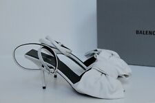New sz 8.5 / 38.5 Balenciaga White Leather Bow Open Toe Ankle Sandal Heel Shoes