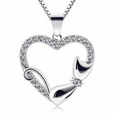 B.Catcher Corazón Collar Mujer Plata de Ley 925 Gato Colgante Navidad con