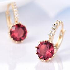 Round Ruby Crystal Rhinestone 24K Gold Filled Women Lady Hoop Stud Earrings BOX