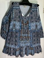 NEW STYLE & CO WOMEN SIZE XL STRETCH COLD SHOULDERS TOP BLOUSE PRINTED