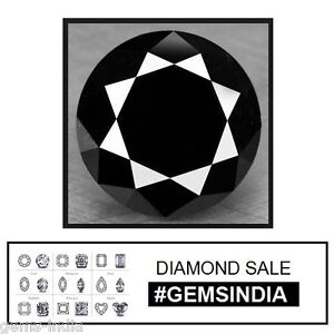 AAA Grade 1.89 Carat Natural Black Diamond for Solitaire 7 mm Round Large Gem