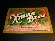 Circa 1930s Sieben Brewing Xmas Brew Label, Chicago, Illinois
