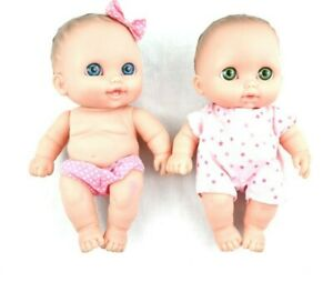 "Berenguer Lil Cuties 8"" Baby Doll Babies Lot of 2 Brown Hair Boy Girl Outfits 8"""