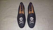 "RARE Men's $495 Stubbs & Wootton Black Linen ""PIRATE SKULL"" Loafers Slipper Shoe"