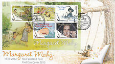 New Zealand 2013 FDC Margaret Mahy 6v Sheet Cover Lion Meadow Witch Changeover