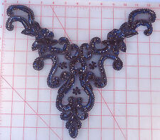 "4 black beaded bodice appliques with sequins collar neckline 13"" x 9"" floral"