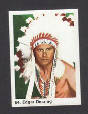 Edgar Dearing Indian Chief Vintage 1960s Cowboy Western Milou Gum Card Holland