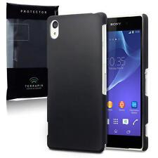 Solid Black HARD RUBBER COVER CASE PER Sony Xperia Z2