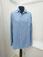Blue Striped Crew Clothing Classic Fit Poplin Cotton Shirt Size Medium LEOPL