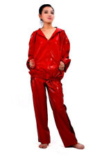 Latex gummi red rubber suit sport playsuit casual outdoor sport sexy coat&pants