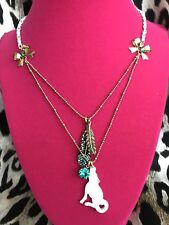 Betsey Johnson Vintage Indian Summer White Wolf Coyote Dog Feather Necklace NOS