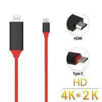 USB 3.1 Tipo C USB-C a 4K HDMI HDTV Cable para Samsung Galaxy S8 book Rojo P2V4
