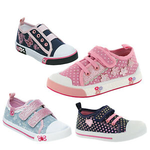 GIRLS CANVAS SHOES PUMPS CHILDREN SUMMER CASUAL TRAINERS FLAT LOW TOP PLIMSOLLS