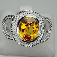 DELIGHTFUL! GOLDEN YELLOW CITRINE MAIN STONE 5.7 CT. & SAPP 925 SILVER RING #7.5