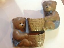 Vintage USA Burwood Products Bear Wall Pockets Nursery