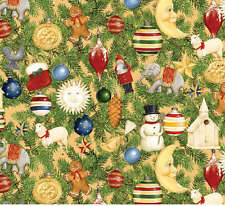FAT QUARTER - 'HOLIDAY HOME' CHRISTMAS ORNAMENT COLLAGE - ABBOTT DESIGNS - SSI