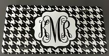 Houndstooth  Personalize Monogrammed License Plate Car Tag Initials Custom Color