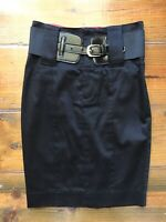 Guess by Marciano Pencil Skirt Solid Black Slim High Waist Belted Cotton Stretch