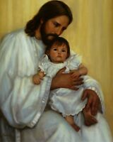 """Catholic print picture  -  JESUS WITH BABY  -   8"""" x 10"""" ready to be framed"""