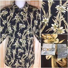 Mens OP Sport Gorgeous Bamboo Stalk Floral Hawaiian Casual Shirt XXL Black Tan