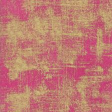 Luxe Brushstrokes Metallic Gold on Fuchsia Moda Quilting Cotton Fabric