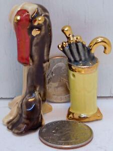 Arcadia Mini Miniature Salt and Pepper Shakers Hat Coat Boot Rack Umbrella Stand