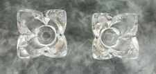 Pair of Glass Flower Shaped Candle Holders