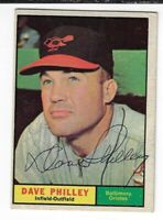 DAVE PHILLEY 1961 TOPPS BASEBALL AUTOGRAPHED CARD 369 BALTIMORE ORIOLES