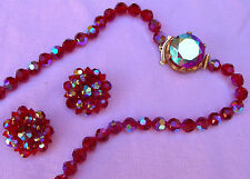 Vintage Bright Ruby Red Aurora Borealis Austrian Crystal Bead Necklace Earrings